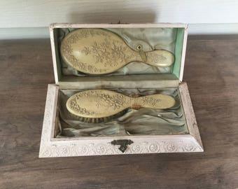Vintage Vanity Set,Shabby Chic Dresser Box,Pink