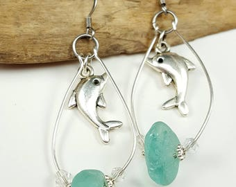 Sea Glass Earrings Sea Glass Jewelry Teal Sea Glass Sterling Silver Earrings  E-228 Mothers Day Gift