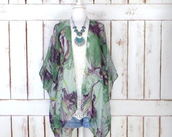 Sheer gauzy green floral handmade kimono cardigan cover up/long lightweight sheer blouse/ON BACK ORDER