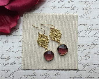 Burgundy Chandelier Earrings, Garnet Earrings, Gold Earrings, Drop Earrings, Dangle Earrings, Faceted Glass Earrings, Gift For Her