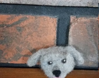 Brooch Pin Puppy Dog Needle Felted Wool