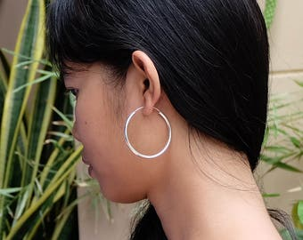 Extra Large 3mm Thicked  Sterling Silver basic hoop earrings, 45 mm Plain big hoops