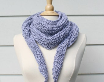 Hand knit scarf womens scarf, light gray knit triangle scarf, lightweight triangle shawl, women's winter accessory, mothers day gift