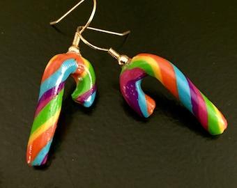 Rainbow Candy Cane Dangle Earrings