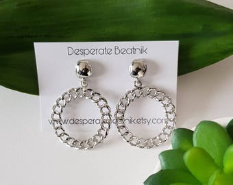 Medium size 50s 60s style silver tone hoops earrings ( posts or clip ons)