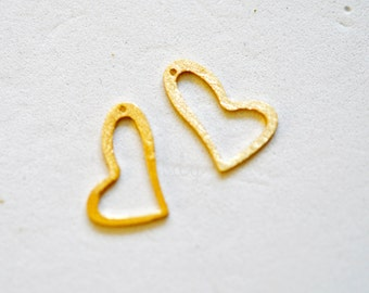 One Small Open Gold Vermeil Heart Charm 19 x 10mm