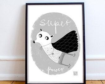 SUPER POWER, poster, Print, children's room poster, Children's illustration art. Kids poster. Kid's room prints. Art decor home. 50 x 70 cm.