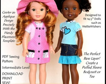 """TERRIFIC LIL' TEES-14.5"""" Sewing Pattern Designed to fit 14.5"""" inch dolls such as American Girl WellieWishers"""
