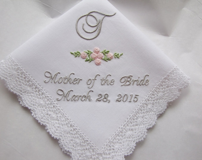 Mother of the Bride or Mother of the Groom Personalized Bobbin Lace Wedding Handkerchief with Rose Detail