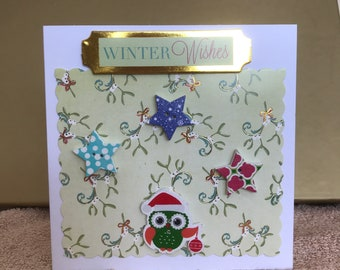 Winter Wishes, Christmas Greeting Card, Owls, Stars, Green, Buttons, Mistletoe