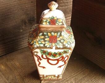 FREE SHIPPING! Antique Japanese Jar with Lid, Nippon Porcelain, Art Nouveau Decoration, Vintage 1910s