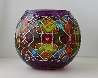 Kaleidoscope Candle Holder / Candleholder / Tealight Holder / Glass Votive Candle Holder / Meditation Gift / Abstract / Mosaic / Colorful