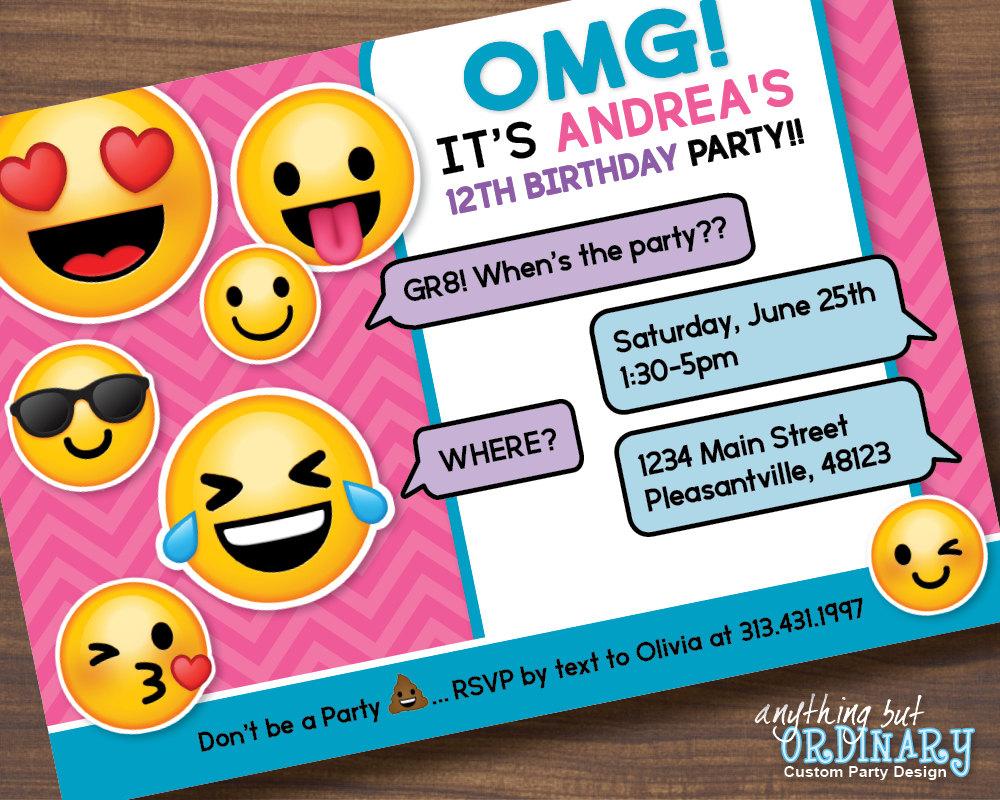 Printable Emoji Birthday Party Invite Girls Emoji
