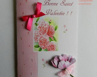 Customizable greeting card. Shabby style Valentines card. Handmade, handcrafted