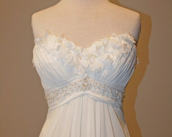 Empire Wedding Dress with Sweetheart Neckline and Cut Fabric Flowers - Renee Style