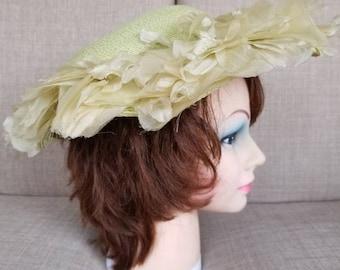 Vintage Women's Green Floral Broad Brimmed Hat