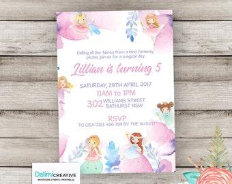Fairy Invitation - Fairy Birthday Invitation - 3rd birthday - Fairy Party Invite - Watercolor Birthday Invitation - Printable Invitation!
