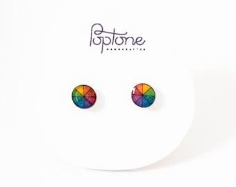 Color Wheel Stud Earrings, Pride month, small rainbow studs, pride stud earrings, artist earrings, art teacher gift