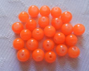 24  Neon Orange Opal Round Ball Glass Beads  8mm