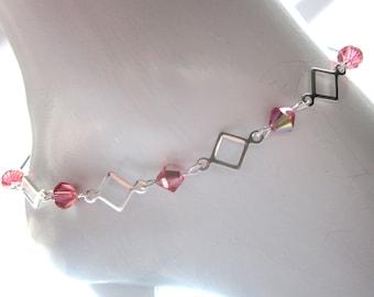 Swarovski anklet, summer jewelry, Linked anklet, Sparkle jewelry, Silver anklet,Sale