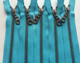 Metal Teeth Zippers- 12 Inch YKK Antique Brass Donut Pull Number 5s- 547 Parrot Blue- 5pcs