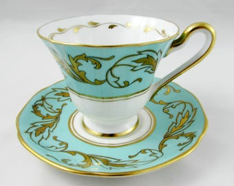 Vintage Tea Cup and Saucer By Tuscan China, Turquoise with Gold Leaf, Bone China, Teal, Blue Green Color