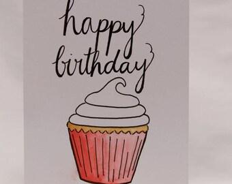Happy Birthday w/ cupcake Card