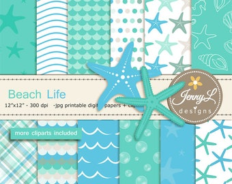 Beach digital papers and Star fish clipart SET, Ocean, water wave for Digital Scrapbooking, wedding, birthday invitations Planner