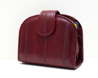 "Womens wallet ""June"" in dark red, ladies wallet, leather wallet, coin purse, handmade, ruby, maroon, kiss lock, Taschenkinder, billfold, new"
