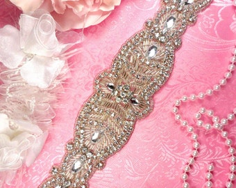 "DH21 Designer Crystal Glass Rhinestone Silver Beaded Applique 12"" (DH21-slcr)"