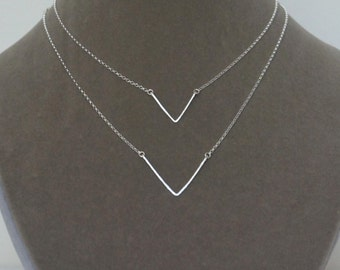 Chevron Necklace, Double V, Handmade Necklace, Sterling Silver, V Necklace, Geometric Necklace, One of a Kind, Birthday Gift