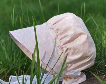 Precious Pink Sun Bonnet, Fabric Baby Bonnet Sizes 0-3 up to 18-24 months