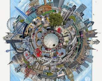 Worlds Apart - LONDON. Art Print, Travel, City Print, Wall Art Prints, London Art, Modern Art, Art, London Skyline