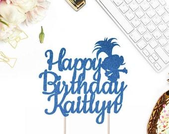 Any Name Happy Birthday Cake Topper, Birthday Cake Topper, Custom Birthday Cake Topper, Birthday Party Decor, Trolls Birthday