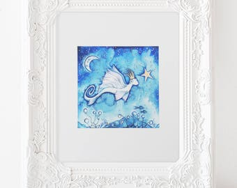 "Whimsical Nursery Print, Fantasy Sea Creature,Make Believe Art Print,Fantasy Art Print,Underwater Art,Whimsical Illustration,Starfish, 5""X5"""