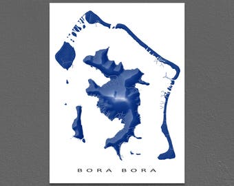 Bora Bora Map Print, French Polynesia, Tropical Island Art, Society Islands, Vaitape