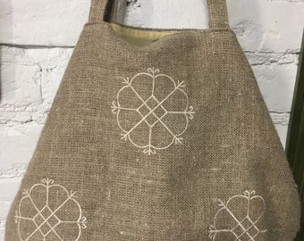 Natural linen beach bag with lining inside made in latvia