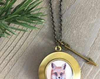 Fox Necklace Locket - Cute Fox Pendant gift for her - Fox jewelry - Fox lover gift - Spirit Animal Jewelry