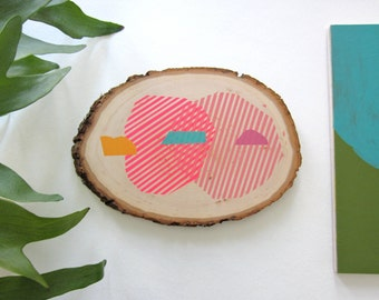 Wood wall art original painting: tree slice painting with colorful abstract shapes and stripes, neon wood