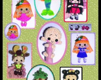 Miniature Doll AND Outfits PDF Digital Crochet Pattern Milk Cap Cutie Series
