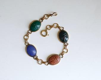années 1940 Pierre de scarabée Gold-Filled multi lien bracelet / 40 s or sculpté bracelet scarabée scarabée Pierre / bleu et vert or remplissent bijoux