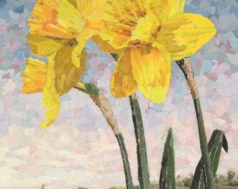 Daffodils. - Signed Fine Art Giclée print. yellow blooms, contemporary fine art print from original collage.