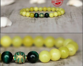 yellow bracelet amulet bracelet boho bracelet gifts for women calming stone sunny bracelet harmony jewelry third chakra bracelet with stone