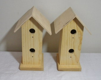 Pair of Unfinished Wood Birdhouses
