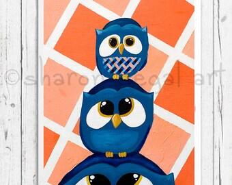 Family Time Owls print, Family Time blue owls matted print, Kids decor, Nursery art, Bathroom art, Owl decor, Owl gift