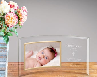 Religious frames etsy personalized baptism glass photo frame picture frame baby gift religious frame baptism negle Choice Image