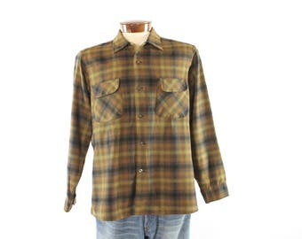 Vintage 50s Pendleton Shirt Shadow Plaid Brown Wool Button Up Long Sleeves 1950s Mens Large L Top Button Loop