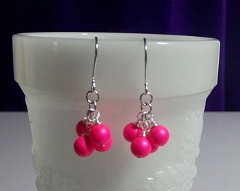 Hot Pink Earrings, Pearl Earrings, Cluster Earrings, Dainty Earrings, Birthday Gifts for Her, Teenager Gift, Sister Gift, Swarovski Earrings