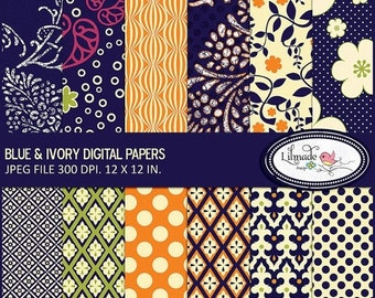 50%OFF Digital paper, floral digital paper, batik digital paper, navy blue digital paper, scrapbook paper, commercial use digital paper