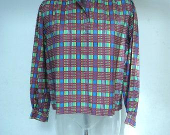 Vintage YSL Silk Checked Blouse